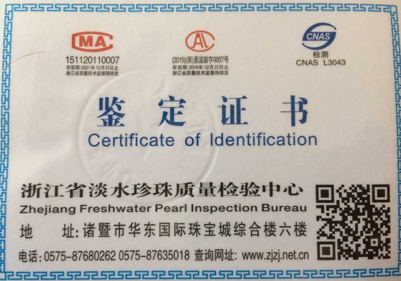 Certificate of Pearl authenticity