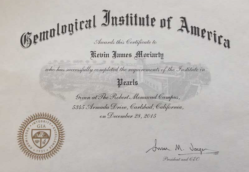 Gemology Institute of America Certificate