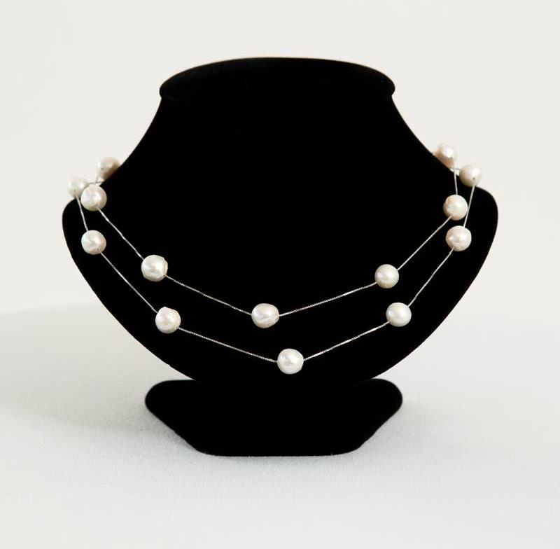 Edison 40 inch sterling silver pearl necklace