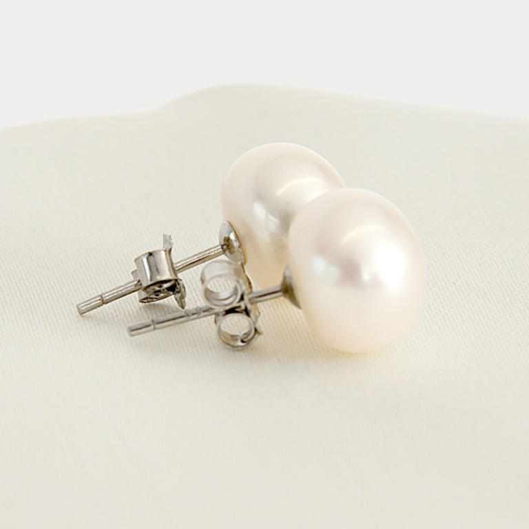 Large baroque stud pearl earrings