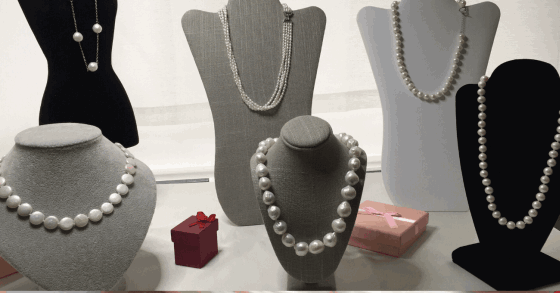 A selection of pearl necklaces