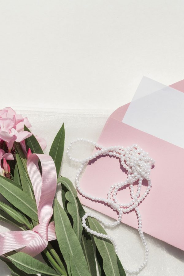 Flowers Pearls and Envelope