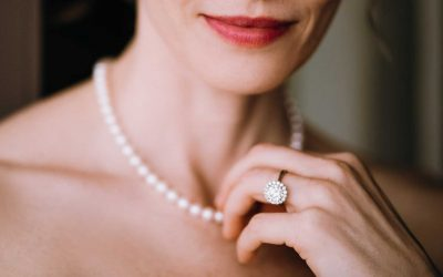 Woman wearing pearl necklace